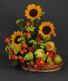 Canasta Girasoles Y Frutas